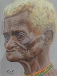 Aquarelle d'une vieille femme au Vanuatu